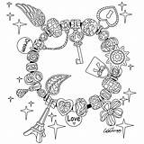 Coloring Pages Bracelet Valentine Therapy Charm Adult Sheets Colouring Colortherapyapp Apple Valentines Adults Coloringbook Books sketch template