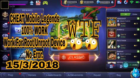 cheat mobile legends  root root work