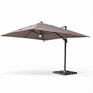Jardiland Parasol Déporté : parasol d port solaire led 3x4m luce taupe haut de gamme ~ Premium-room.com Idées de Décoration