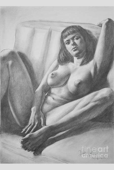 Original Drawing Sketch Charcoal Female Nude Beautiful Girl Art Pencil On Paper -0048 Painting ...