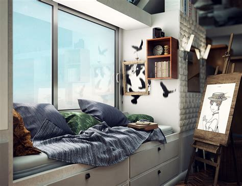 compact loft apartment  high ceiling creates extra