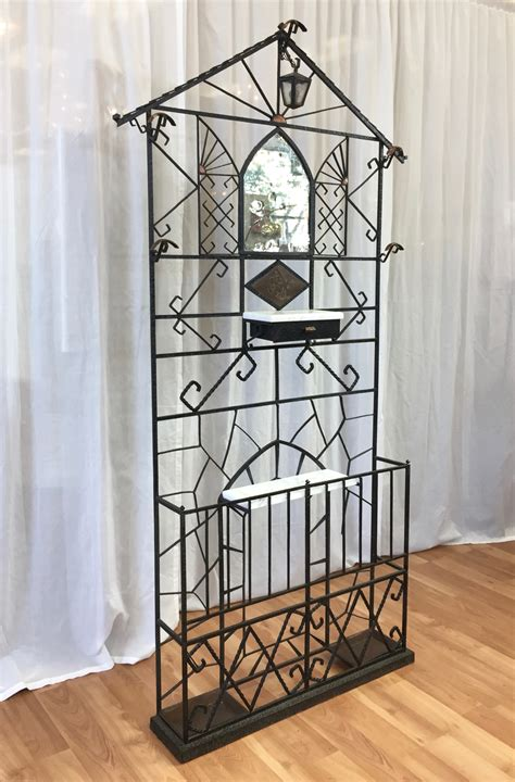 french wrought iron art deco hall tree  copper