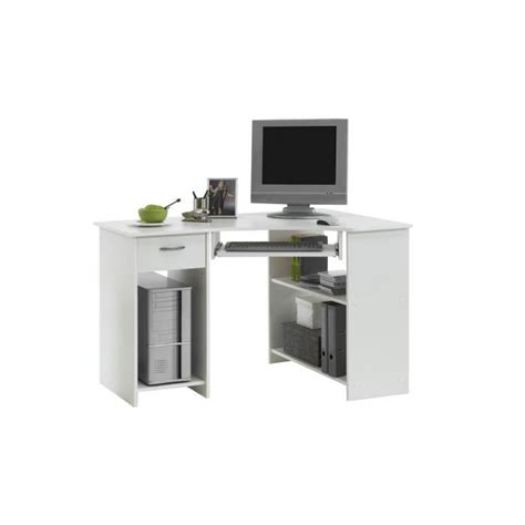 but bureau angle felix bureau d 39 angle 77 cm blanc achat vente bureau