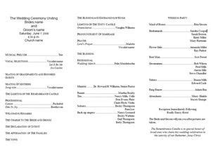 wedding program templates  tri fold wedding
