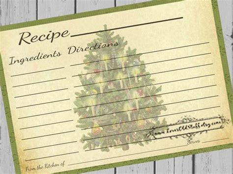 printable christmas recipe cards  blank recipe cards etsy