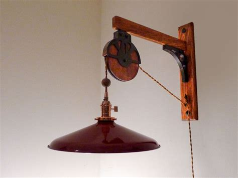Barn Pulley Lamp Made Of Red Oak With Faux Barn Pulley