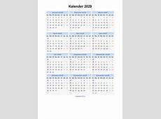 Kalender 2029 Jaarkalender en Maandkalender 2029 met