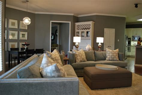 modern family living space  grey modern family room