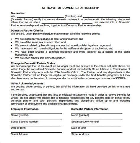 domestic partner affidavit form california 13 domestic partnership agreements to download sle