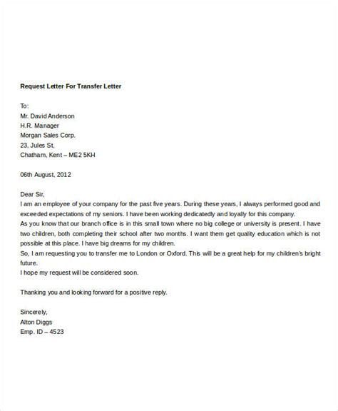 employee transfer letter template 8 free word format