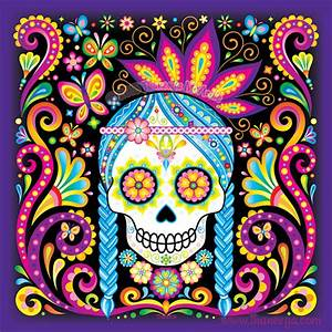 Sugar Skull Art: Colorful Day of the Dead Art by Thaneeya