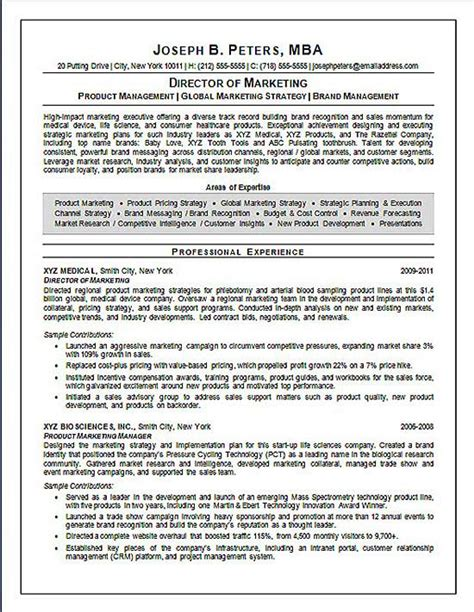 Director Marketing Resume by Director Of Marketing Resume Exle Sle