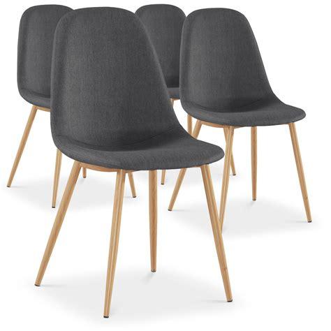 lot de 4 chaises scandinaves gao tissu gris meubles