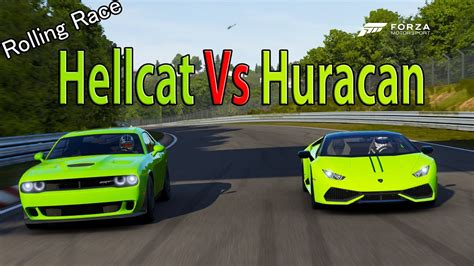 Challenger Hellcat Vs Lamborghini by Forza Motorsport 6 Drag Race Lamborghini Huracan Vs