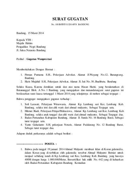 contoh surat gugatan cerai melalui kuasa hukum surat gugatan