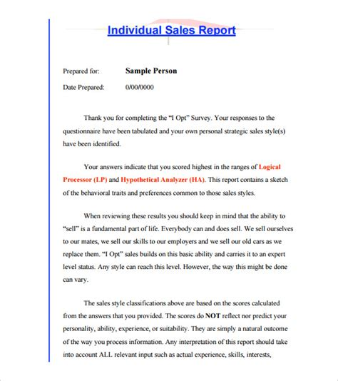 Person Report Template by 24 Sales Report Templates Doc Pdf Excel Free