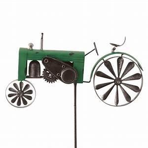 windspiel trecker traktor grun metall windrad garten With französischer balkon mit garten traktor kaufen