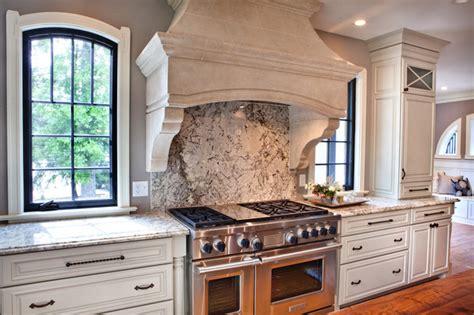 range with granite backsplash kitchen