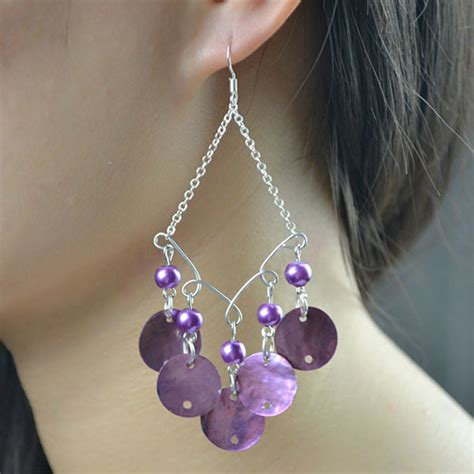 how to make purple shell chandelier earrings for summer