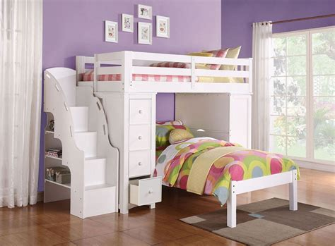 Destiny White Large Twin Loft Bunk Bed With Bookcase Ladder