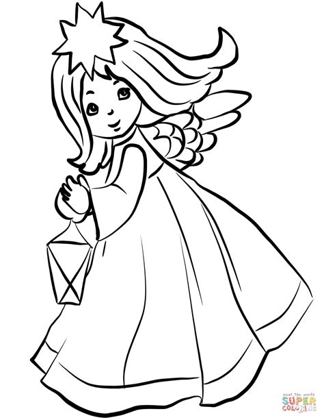 christmas angel  lantern coloring page