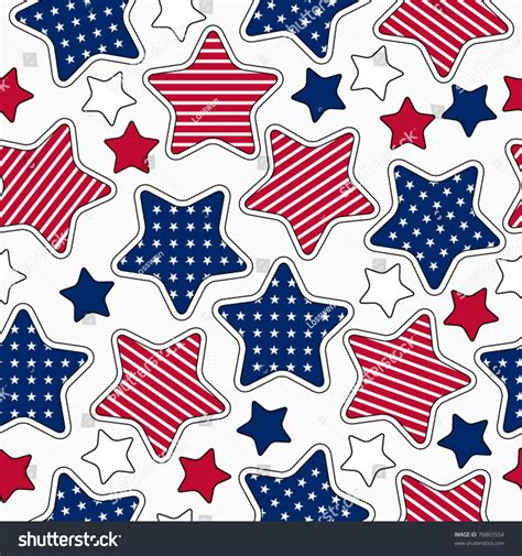 American Stars And Stripes Seamless Pattern Stock Vector