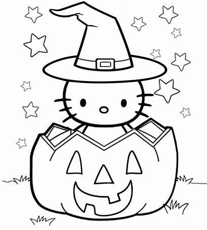Coloring Kitty Halloween Hello Easy Printable Drawing