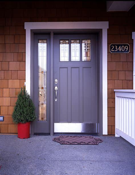 Exterior Design: Brown Wooden Therma Tru Doors With Black