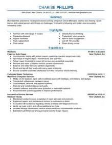auto technician resume objective resume exles templates best automotive technician resume exles entry level mechanic