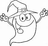 Ghost Coloring Halloween Pages Cartoon Cute Scary Witch Printable Drawing Coloriage Drole Spooky Outline Smiling Tattoo Hat Face Fantome Personnage sketch template