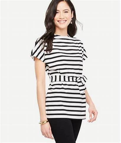 Shirt Belt Neck Chic Casual Sleeved Striped