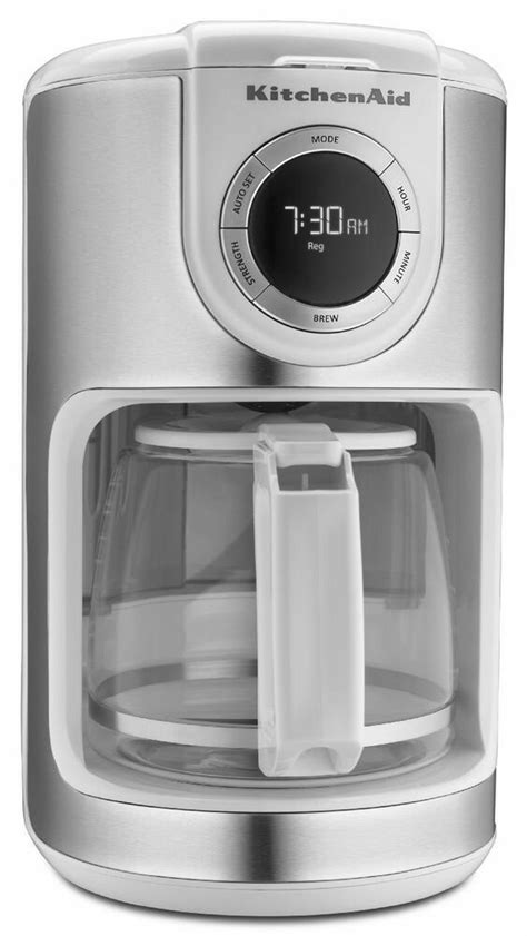 kitchenaid white  cup glass carafe digital coffee