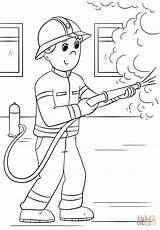 Firefighter Coloring Pages Cartoon Fire Firefighters Printable Fighter Thank Sheets Drawing Paper Colorings sketch template