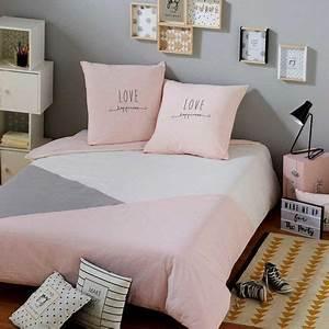 Parure De Lit Rose Et Gris : parure de lit en coton gris et rose 220x240cm en 2019 habitacion bedroom themes room decor ~ Melissatoandfro.com Idées de Décoration