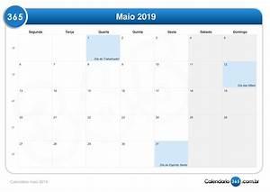 Calendário maio 2019