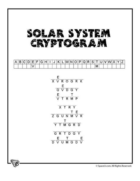 solar system  kids planets cryptogram classroom jr
