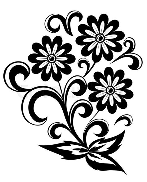 Abstract Flowers Black And White by Black And White Abstract Flower With Stock Vector