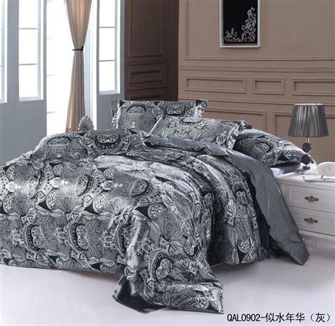 grey silver silk bedding set sheets paisley super king