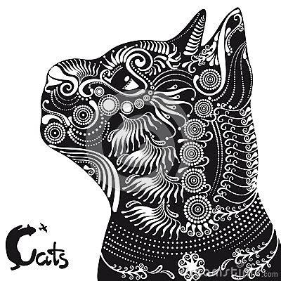 cat head   tattoo  stencil stock illustration