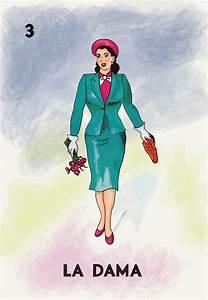 Loteria La Dama Mexican Retro Poster Illustration Art