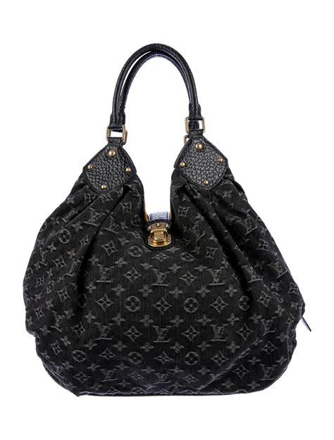 louis vuitton denim mahina hobo handbags lou  realreal