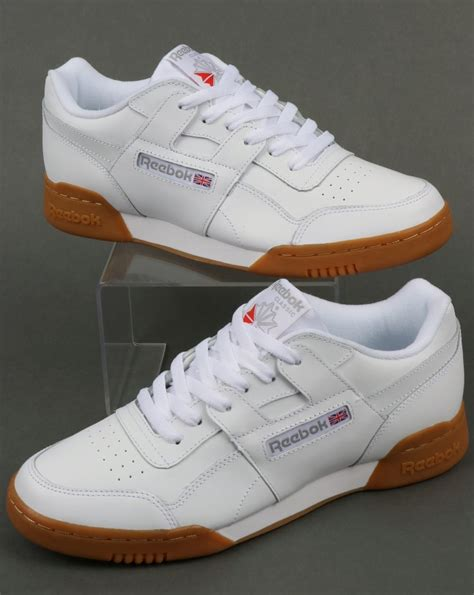 reebok workout plus trainers in white carbon gum 80s casual classics