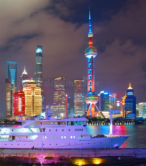 Shanghai downtown night stock photo. Image of move, drive ...