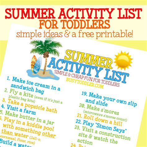 Summer Activity List For Toddlers  Busy Toddler