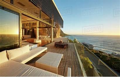 Luxury Modern Patio Ocean Sunset Dissolve Royalty