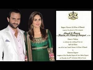 Saif Ali Khan & Kareena Kapoor's WEDDING CARD - YouTube