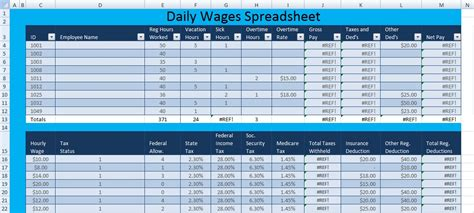 daily wages spreadsheet template excel excel