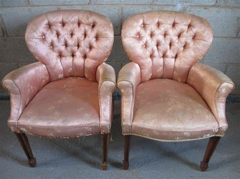 Lovely Pair Of Victorian/edwardian Button Upholstered
