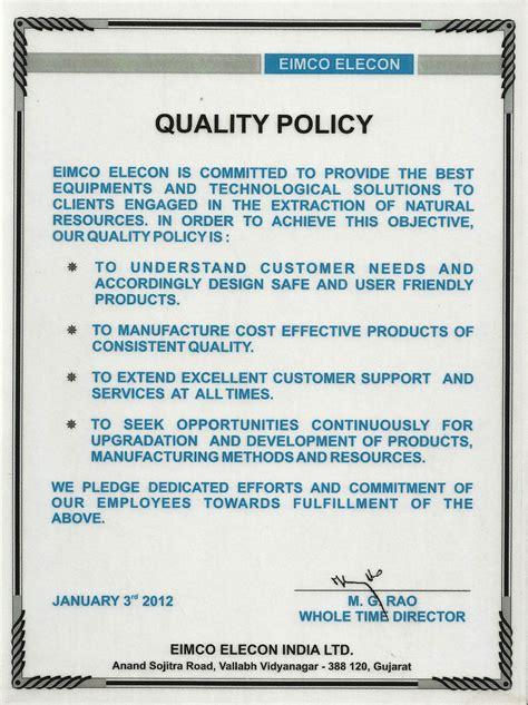 Quality Policy Eimco Elecon India Limitedeimco