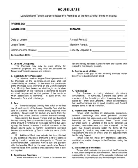 sample rental agreement form  examples   word